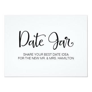"Simple Calligraphy   ""Date Jar"" Wedding sign Card"