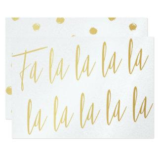 """Simple calligraphy gold """"Fa la la la"""" Christmas Card"""