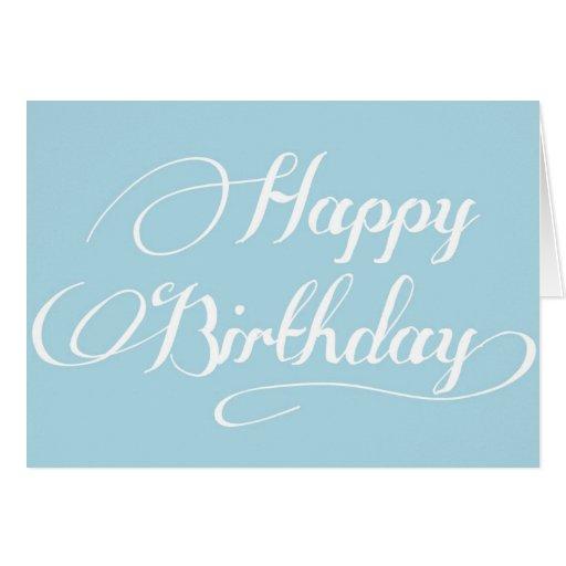 Simple calligraphy light blue happy birthday card zazzle