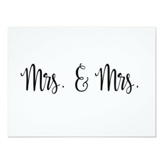 Simple Calligraphy | Mrs. and Mrs. wedding sign Invitation