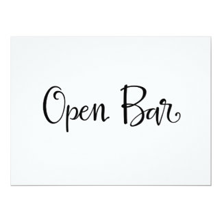 Simple Calligraphy | Open Bar Reception Sign Card