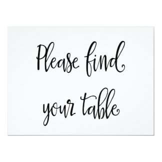 Simple Calligraphy | Please Find Your Table Sign Card