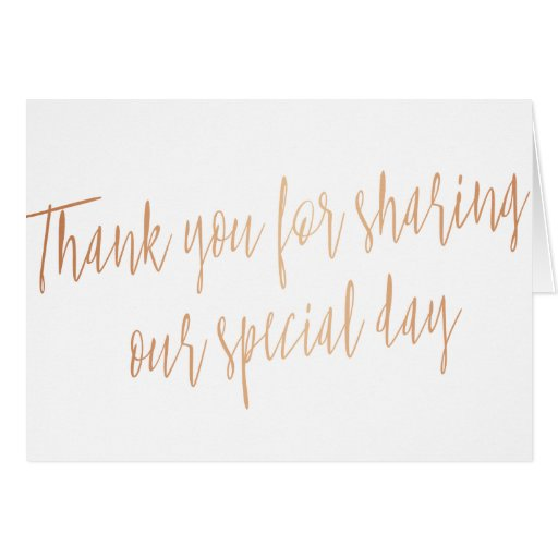Simple Calligraphy Rose Gold Thank You Card Zazzle