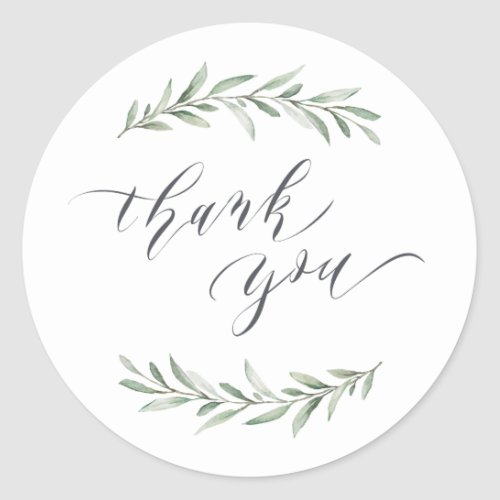 Simple calligraphy rustic greenery  thank you classic round sticker
