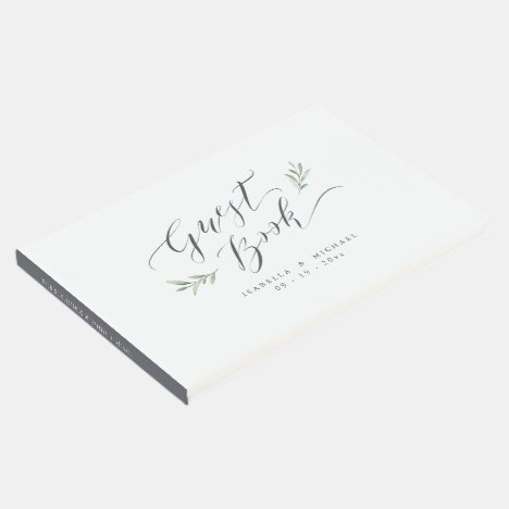 Simple calligraphy rustic greenery wedding guest book