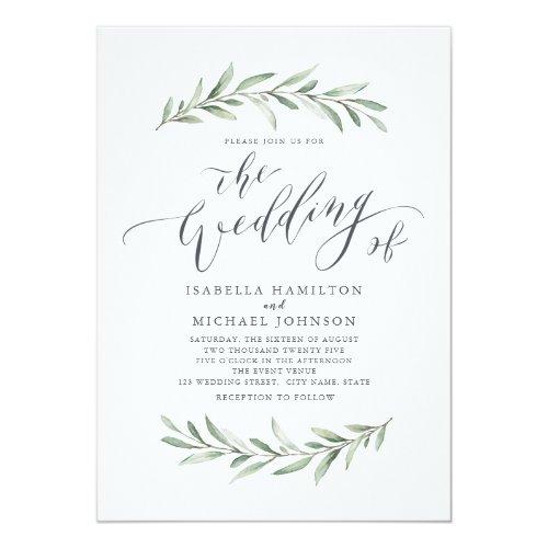Simple calligraphy rustic greenery wedding invitation