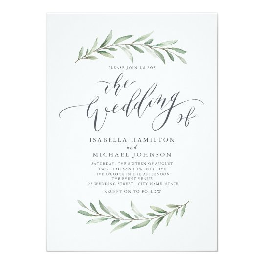 Gallery Minimalist Wedding Invitations: Simple Calligraphy Rustic Greenery Wedding Invitation