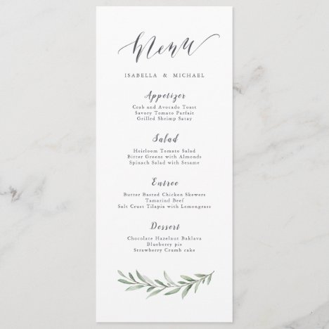 Simple calligraphy rustic greenery wedding menu