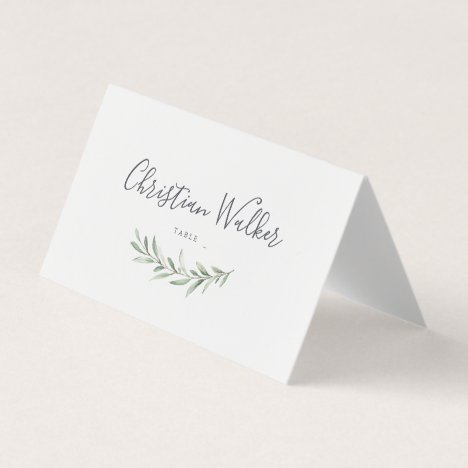 Simple calligraphy rustic greenery wedding place card