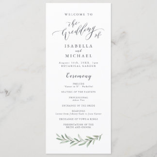 Simple calligraphy rustic greenery wedding program