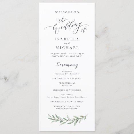 Simple calligraphy rustic greenery wedding program