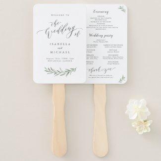 Simple wedding program hand fan, calligraphy rustic greenery