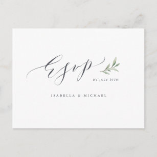 Simple Calligraphy Rustic Greenery Wedding Rsvp Invitation Postcard