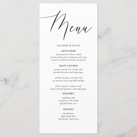 Simple Calligraphy Rustic Wedding Menus