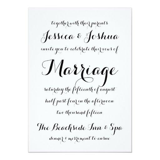 Simple calligraphy typography wedding invitation zazzle