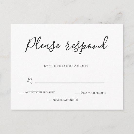 Simple calligraphy wedding RSVP cards