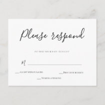 Simple calligraphy wedding rsvp postcards