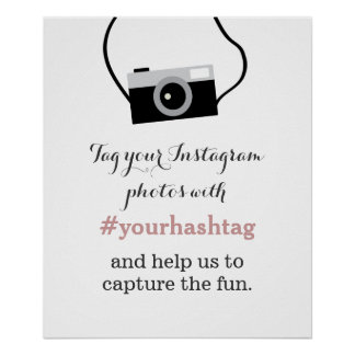 Simple Camera Instagram Photos Hashtag Sign Print