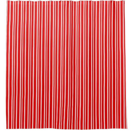 Simple Candy Cane Red White Stripes Shower Curtain