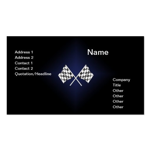 simple card with two checkered racing flags Double-Sided standard business cards (Pack of 100)