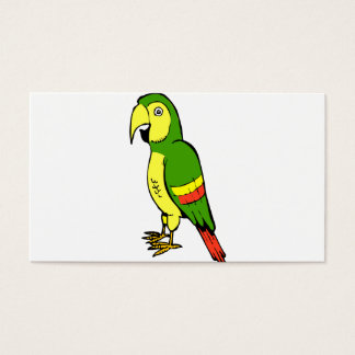 Simple cartoon parrot with yellow and green business card