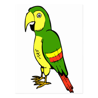 Simple cartoon parrot with yellow and green postcard