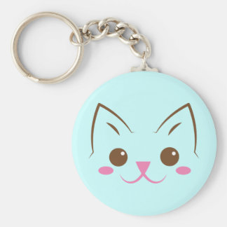 Simple cat face so cute! basic round button keychain
