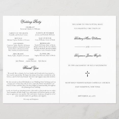 Simple Catholic Wedding Ceremony with Mass Program