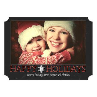 Simple Chalkboard Custom Photo Holiday Flat Card
