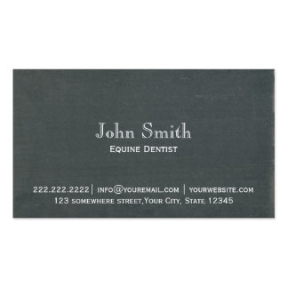 Simple Chalkboard Equine Dentist Business Card
