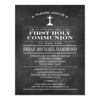 Simple Chalkboard First Holy Communion Card