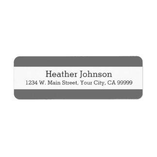 Simple Charcoal Gray Stripes Return Address Labels