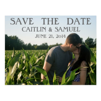 Simple Charcoal Save the Date Postcard