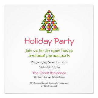 Simple Cheery Christmas Tree Dot Invitation