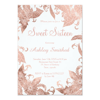 Simple chic elegant faux rose gold floral Sweet 16 Card
