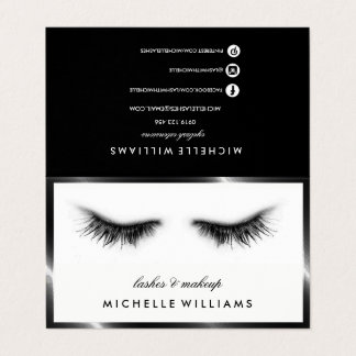 Simple Chic Eyelash Extensions After Care Referral Business Card