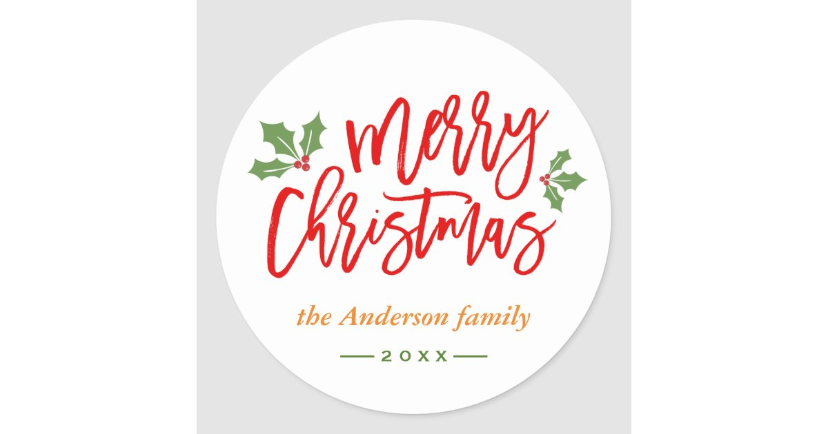 Merry Christmas Calligraphy.Simple Chic Merry Christmas Calligraphy Script Classic Round Sticker