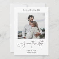 Simple Chic Minimalist Modern Script Photo Wedding Save The Date
