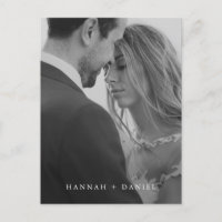 Simple Chic Minimalist Photo Wedding Save the Date Invitation Postcard
