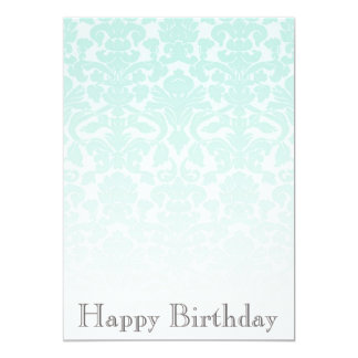 Simple Chic Mint Damask Birthday Party Invitation