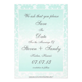 Simple Chic Mint Damask Save The Date Announcement