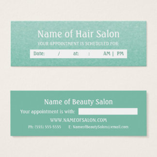 Simple Chic Mint Salon Appointment Reminder Mini Business Card