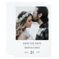 Simple Chic Photo Custom Wedding Save the Date Invitation