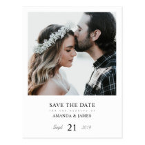 Simple Chic Photo Custom Wedding Save the Date Postcard