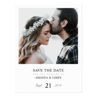 Simple Chic Photo Wedding Save the Date Postard Postcard