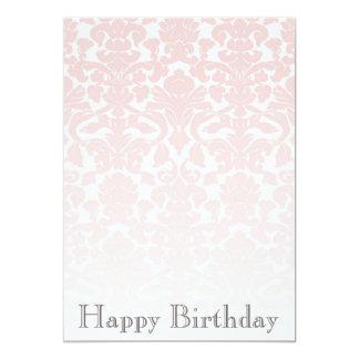 Simple Chic Pink Damask Birthday Invitation