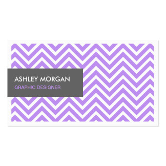 Simple Chic Purple Chevron Zigzag Profile Card Business Card