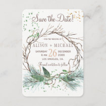 Simple chic rustic winter wreath save date wedding save the date