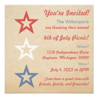 """Simple Chic Stars 4th of July Invitation 5.25"""" Square Invitation Card"""