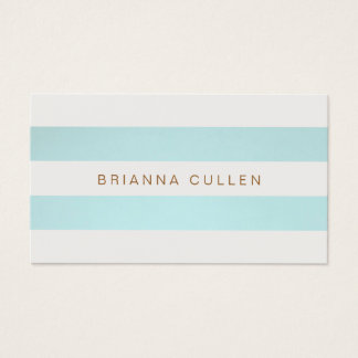 Simple Chic Striped Turquoise Blue Elegant Business Card